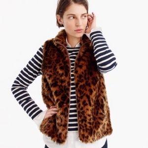 J. Crew Faux-Fur Leopard Vest Size Petite Medium